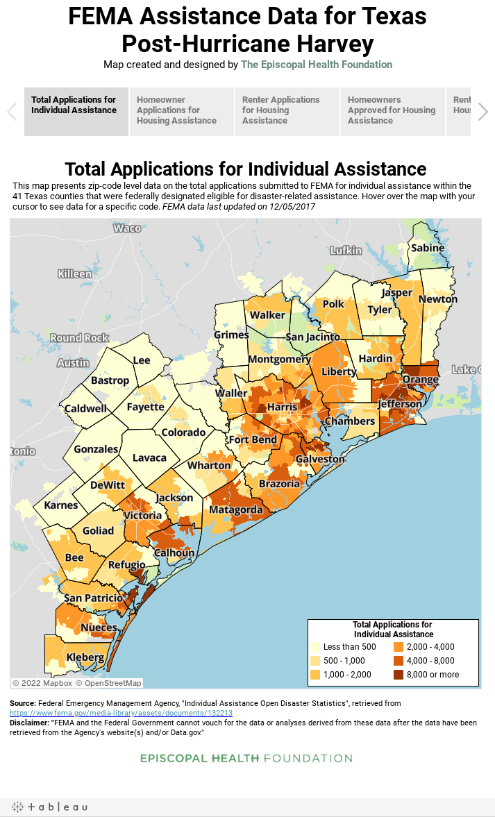 FEMA Assistance Data for TexasPost-Hurricane HarveyMap created and designed by The Episcopal Health Foundation