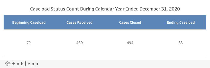 Caseload Status Count for the Year Ended in December 31, 2019- Dashboard