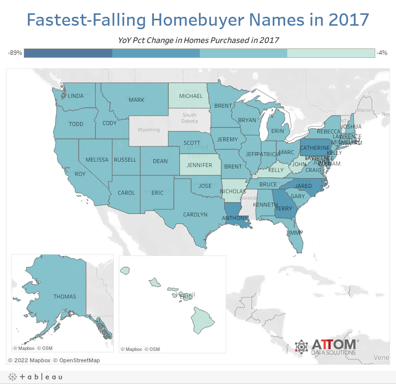 Fastest-Falling Homebuyer Names in 2017