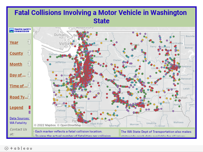 Fatal Collisions Involving a Motor Vehicle in Washington State