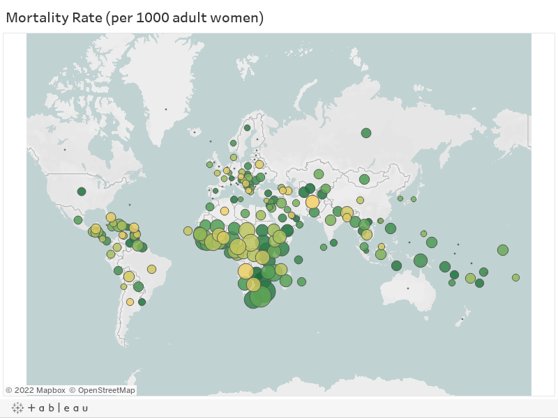 Mortality Rate (per 1000 adult women)