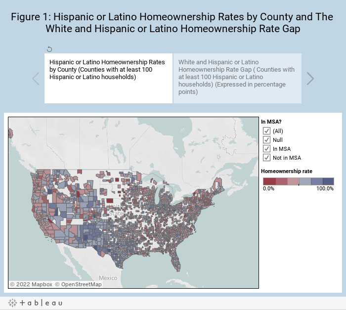 Figure 1: Hispanic or Latino Homeownership Rates by County and The White and Hispanic or Latino Homeownership Rate Gap