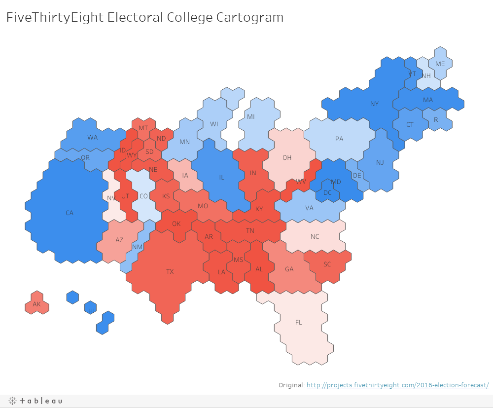 FiveThirtyEight Electoral College Cartogram