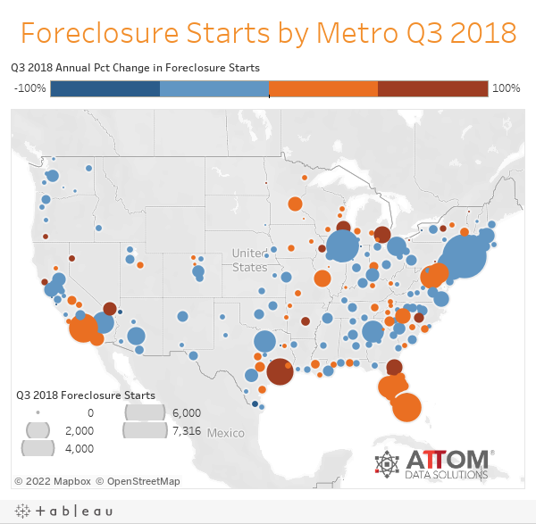 Foreclosure Starts by Metro Q3 2018