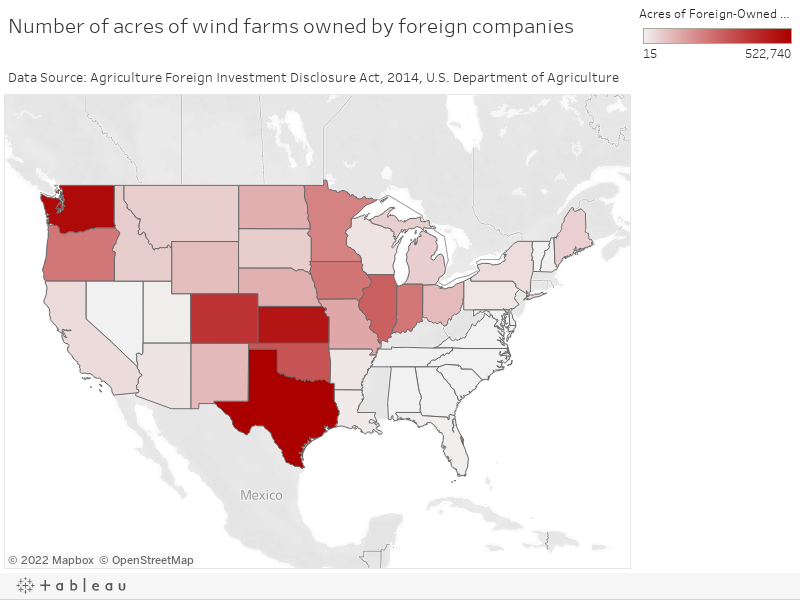 Number of acres of wind farms owned by foreign companiesData Source: Agriculture Foreign Investment Disclosure Act, 2014, U.S. Department of Agriculture