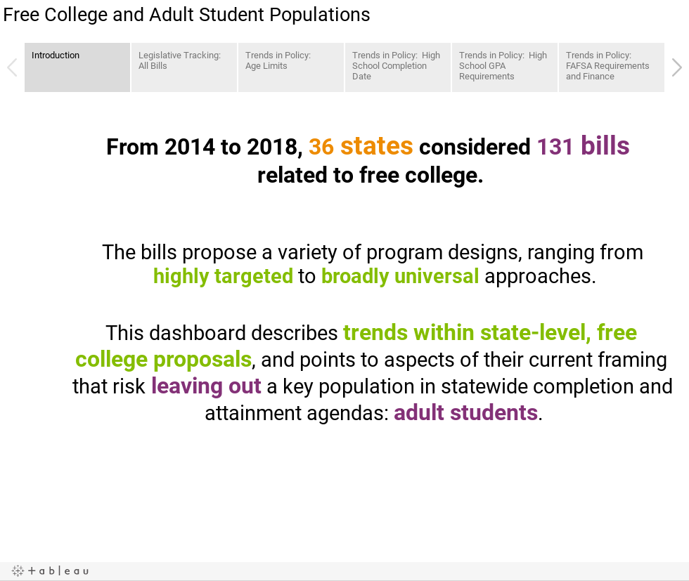 Free College and Adult Student Populations