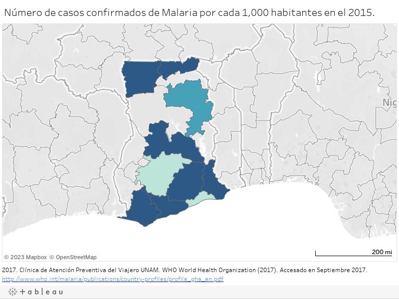 Número de casos confirmados de Malaria por cada 1,000 habitantes en el 2015.