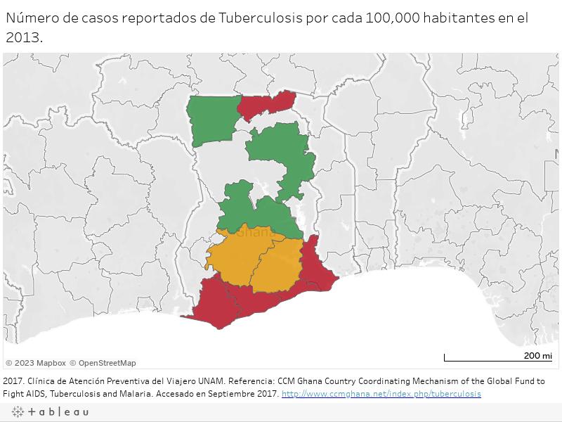 Número de casos reportados de Tuberculosis por cada 100,000 habitantes en el 2013.