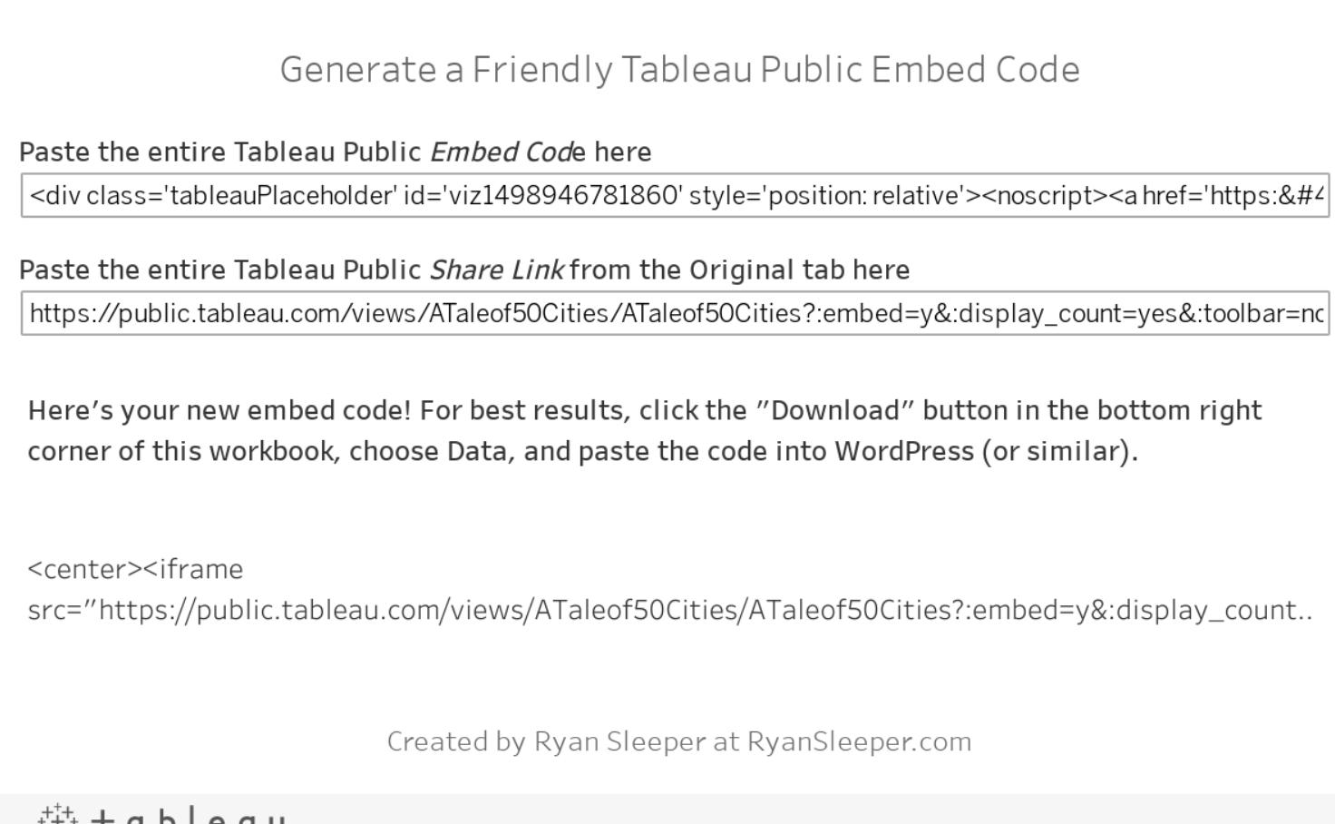 Generate a Friendly Tableau Public Embed Code - Ryan Sleeper