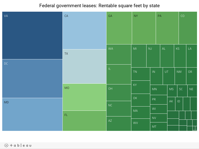 Federal government leases: Rentable square feet by state