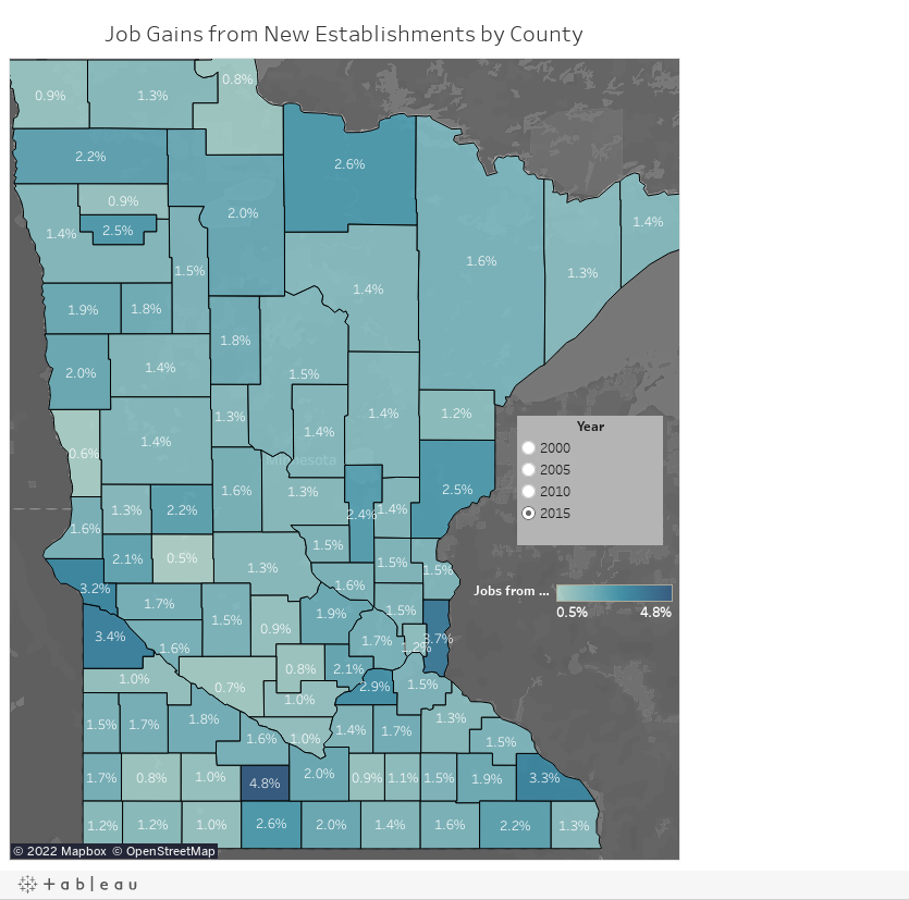Job Gains from New Establishments by County