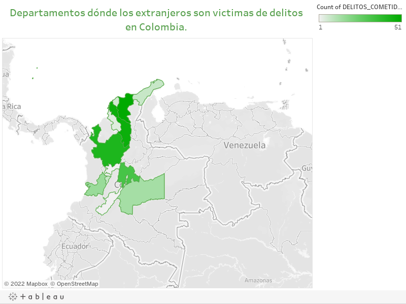 Departamentos dónde los extranjeros son victimas de delitos en Colombia.
