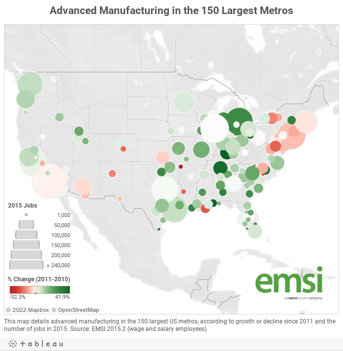 Advanced Manufacturing in the 150 Largest Metros