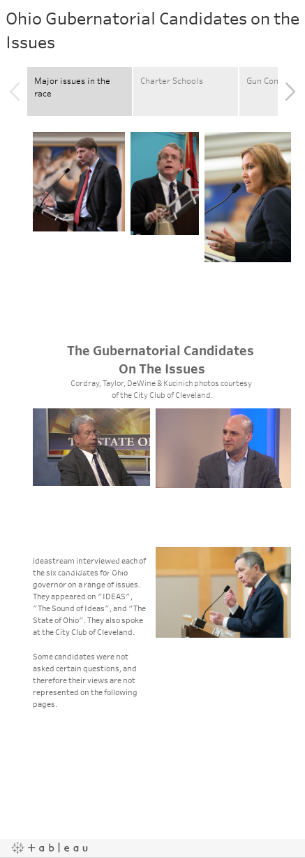Ohio Gubernatorial Candidates on the Issues