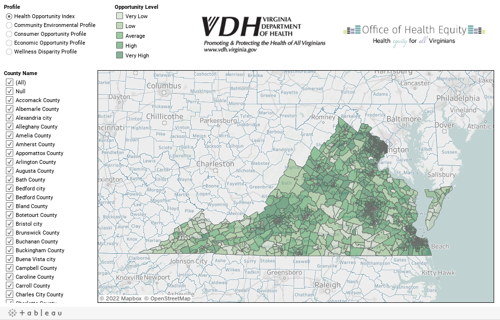 Counties Virginia Health Opportunity Index - Counties of va map