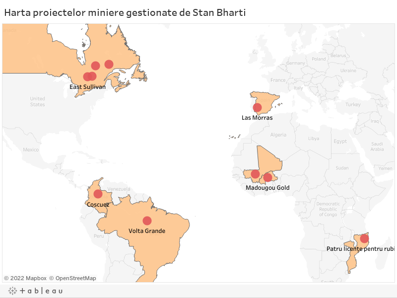 Harta proiectelor miniere gestionate de Stan Bharti