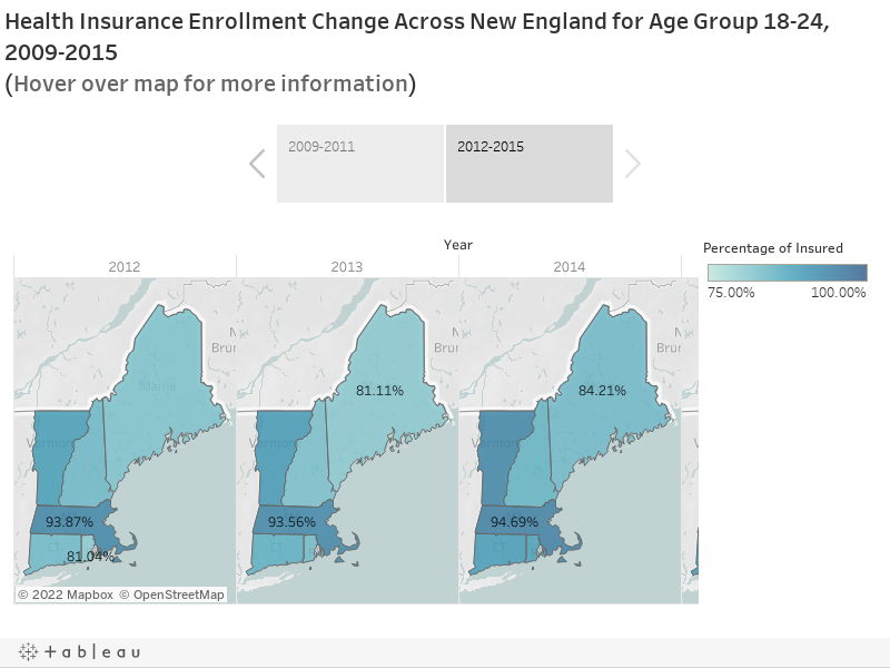 Health Insurance Enrollment Change Across New England for Age Group 18-24, 2009-2015 (Hover over map for more information)