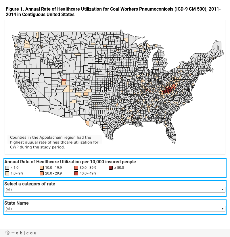 Figure 1. Annual Rate of Healthcare Utilization for Coal Workers Pneumoconiosis (ICD-9 CM 500), 2011-2014 in Contiguous United States