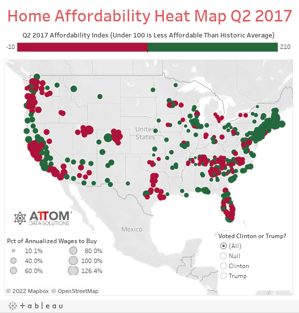 Home Affordability Heat Map Q2 2017