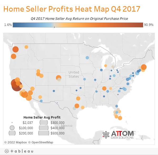 Home Seller Profits Heat Map Q4 2017