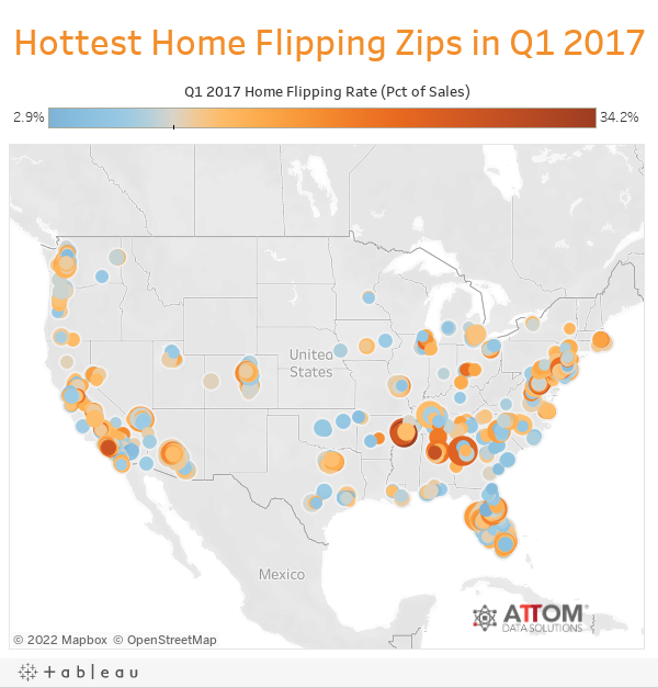 Hottest Home Flipping Zips in Q1 2017
