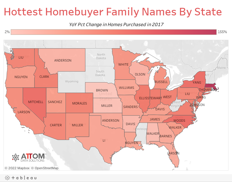Hottest Homebuyer Family Names By State