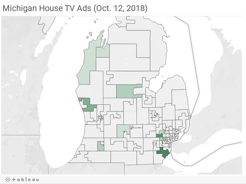 Michigan House TV Ad Spending (Oct. 12, 2018)