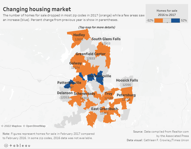 Changing housing marketThe number of homes for sale dropped (orange) in most zip codes from 2016 to 2017. A few areas saw an increase (blue).
