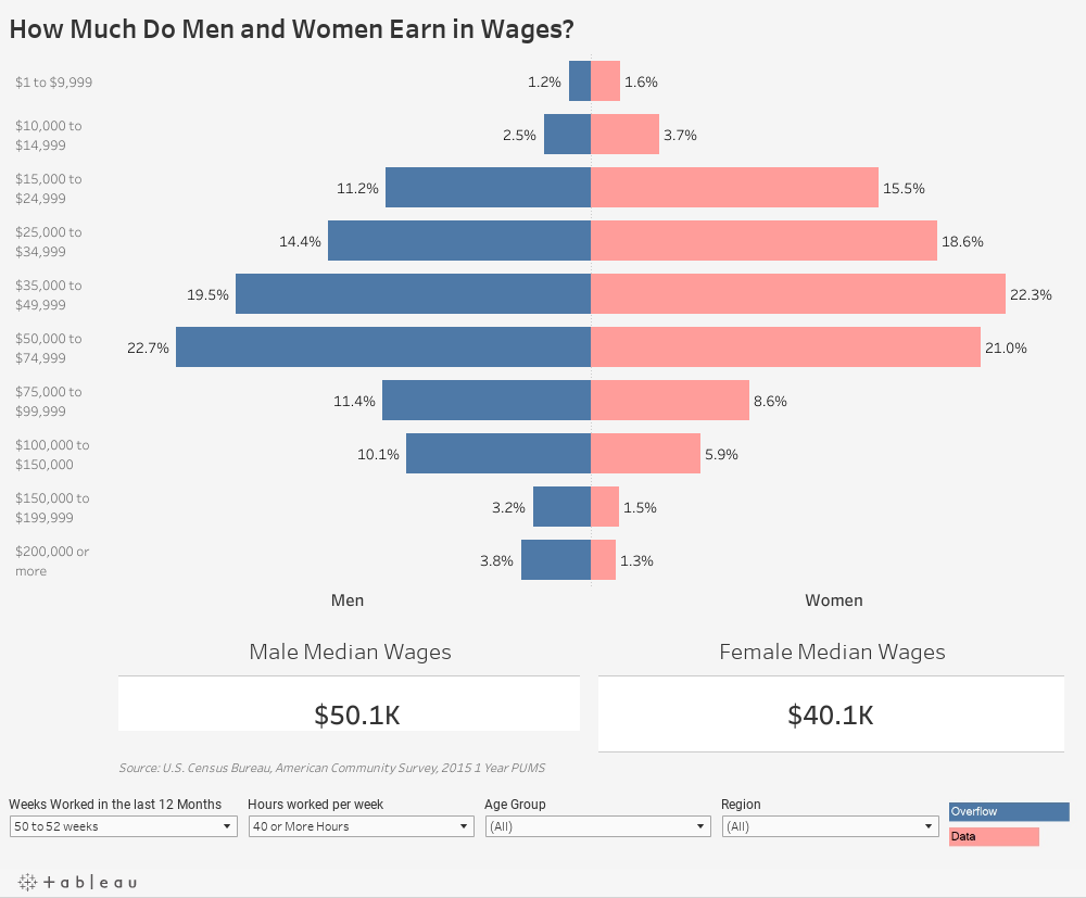 How Much Do Men and Women Earn in Wages?