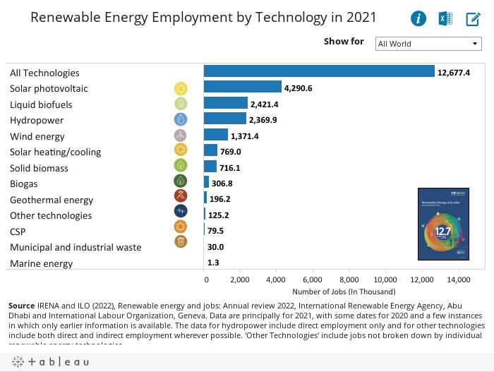 Renewable Energy Employment byTechnology