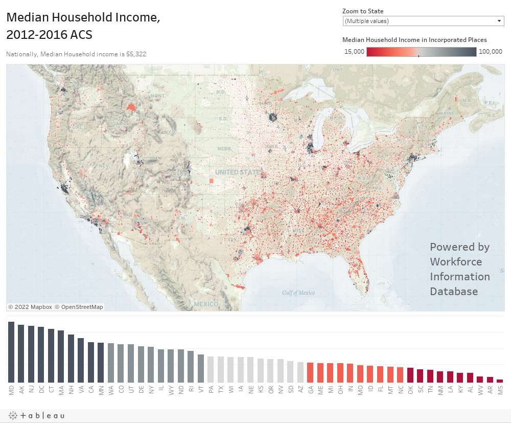 Median Household Income, 2012-2016 ACS