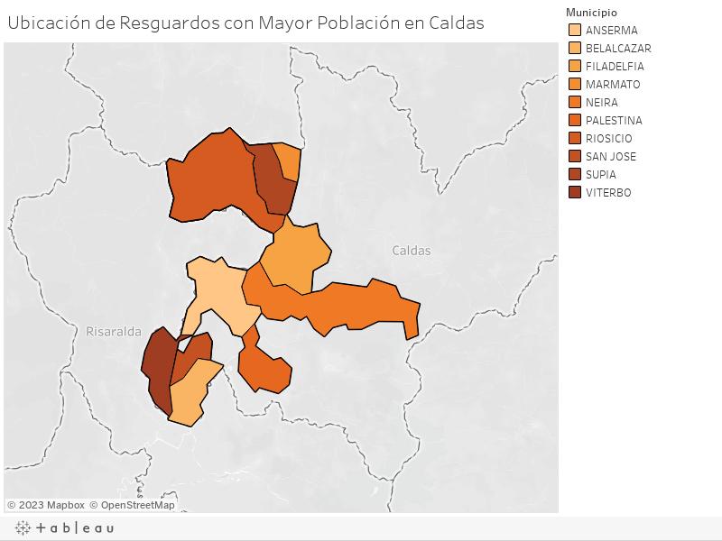 Ubicación de Resguardos con Mayor Población en Caldas