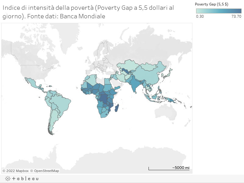 Indice di intensità della povertà (Poverty Gap a 5,5 dollari al giorno). Fonte dati: Banca Mondiale