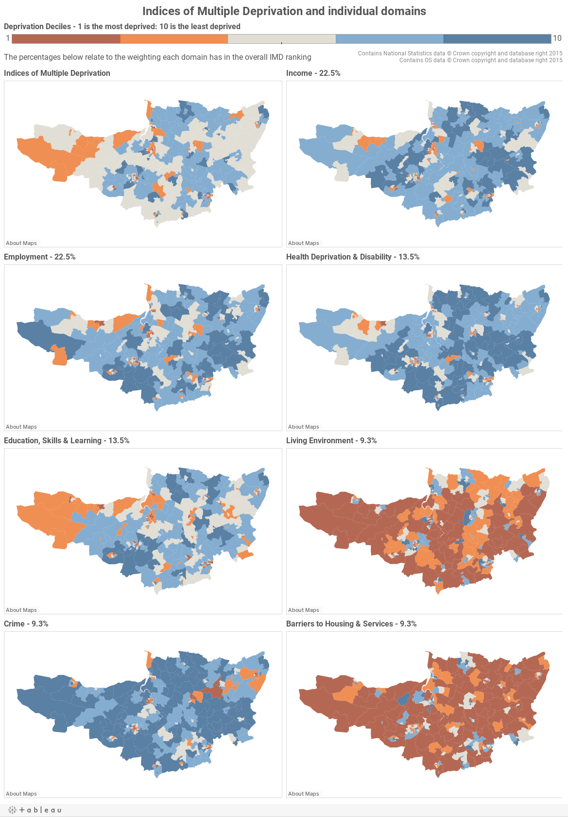 Indices of Multiple Deprivation and individual domains