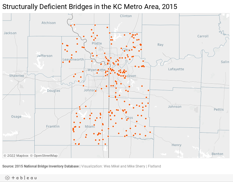 Structurally Deficient Bridges in the KC Metro Area, 2015