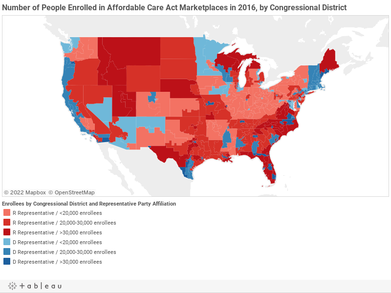 Number of People Enrolled in Affordable Care Act Marketplaces in 2016, by Congressional District