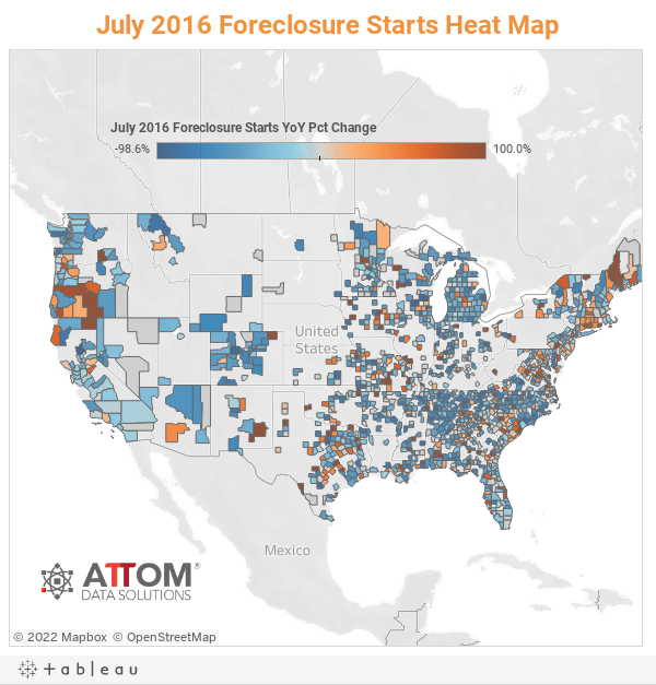 July 2016 Foreclosure Starts Heat Map