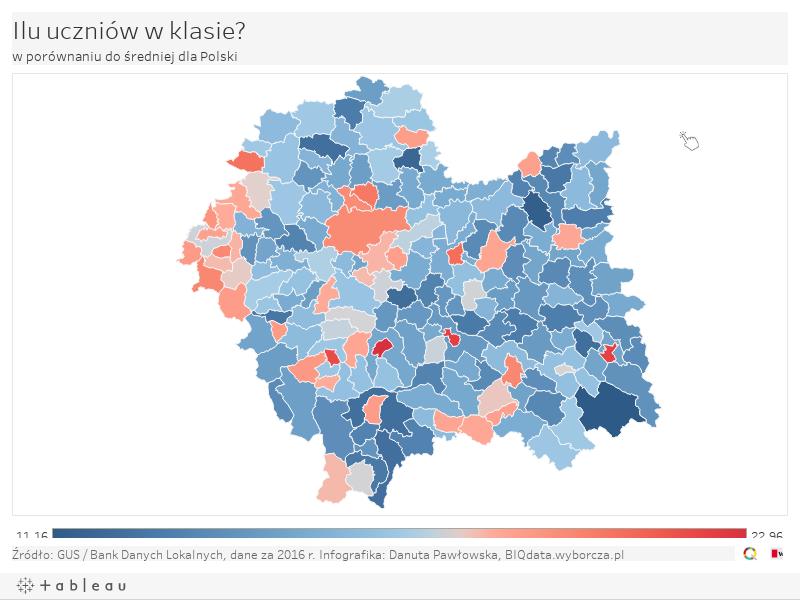Ilu uczniów w klasie? w porównaniu do średniej dla Polski