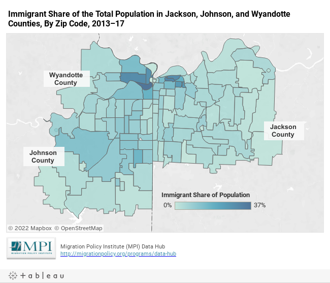 Immigrant Share of the Total Population in Jackson, Johnson, and Wyandotte Counties, By Zip Code, 2013–17
