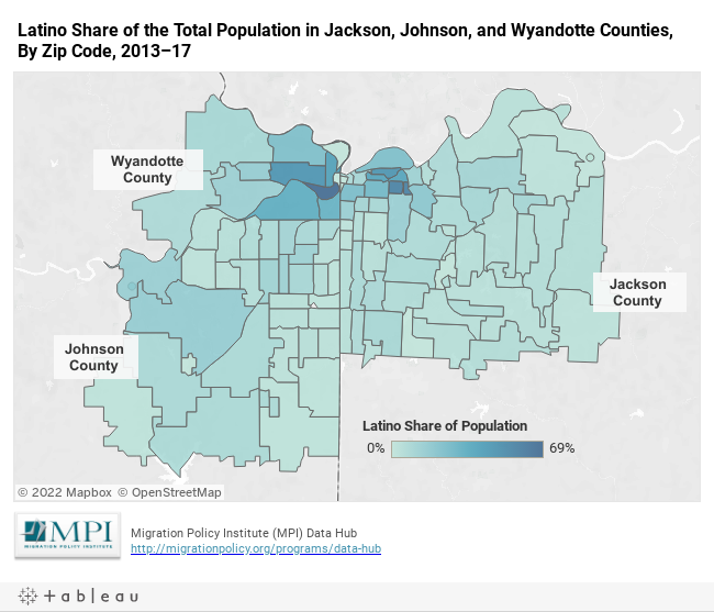 Latino Share of the Total Population in Jackson, Johnson, and Wyandotte Counties, By Zip Code, 2013–17