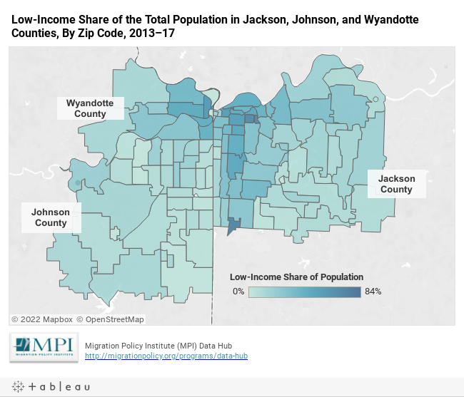 Low-Income Share of the Total Population in Jackson, Johnson, and Wyandotte Counties, By Zip Code, 2013–17