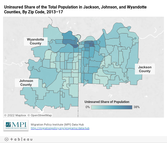 Uninsured Share of the Total Population in Jackson, Johnson, and Wyandotte Counties, By Zip Code, 2013–17