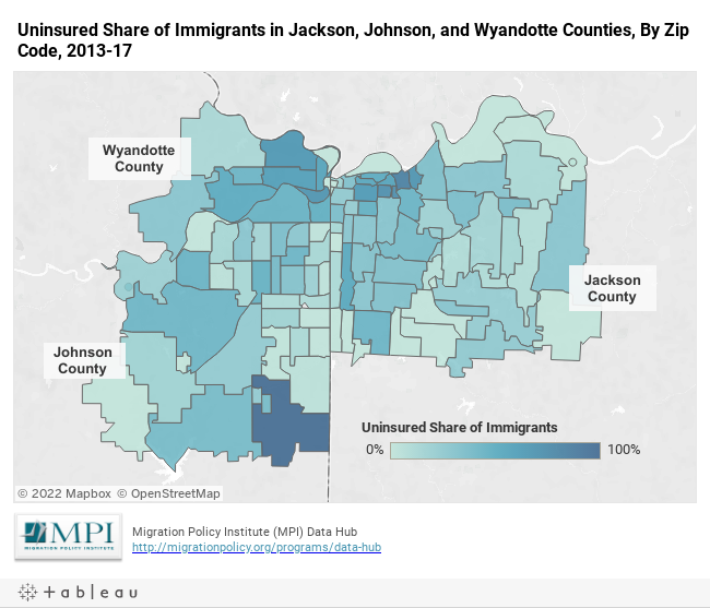 Uninsured Share of Immigrants in Jackson, Johnson, and Wyandotte Counties, By Zip Code, 2013-17
