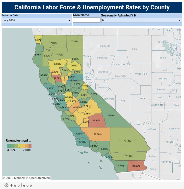 California Labor Force & Unemployment Rates by County