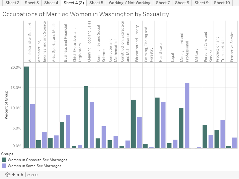 Occupations of Married Women in Washington by Sexuality