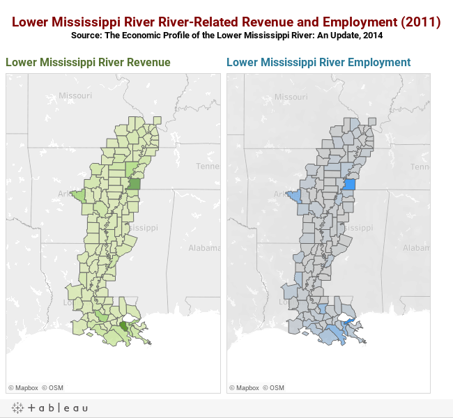 Lower Mississippi River River-Related Revenue and Employment (2011)Source: The Economic Profile of the Lower Mississippi River: An Update, 2014