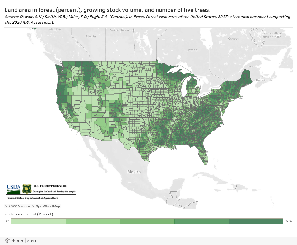 [Embedded Tool] NEW! Interactive online tool featuring Forest area (acres, percent), number of trees, and growing stock volume by county Nationwide