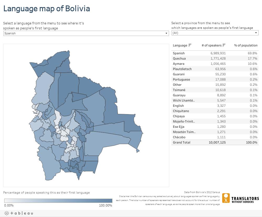 Language map of Bolivia