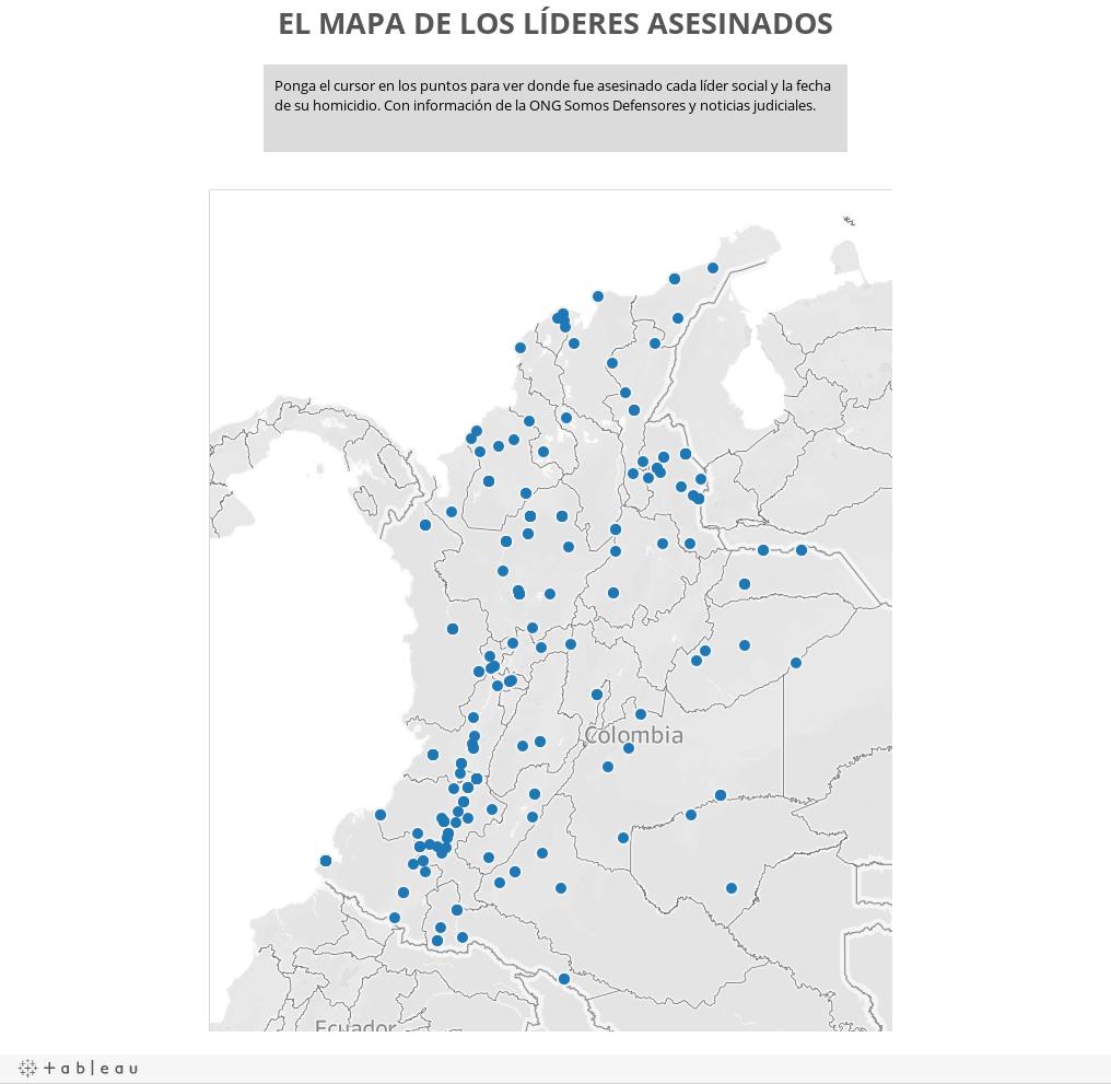 EL MAPA DE LOS LÍDERES ASESINADOS