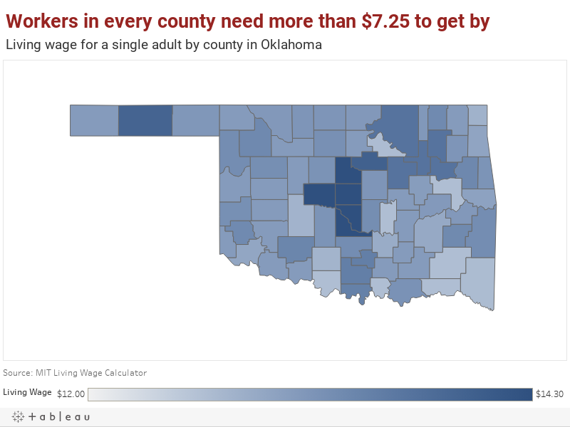 Workers in every county need more than $7.25 to get byLiving wage for a single adult by county in Oklahoma